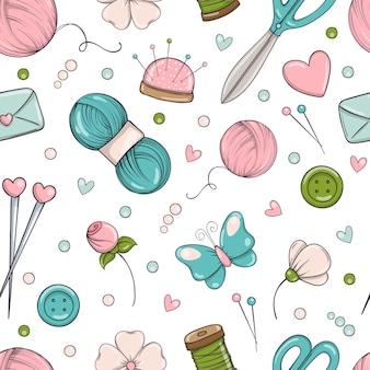 Naadloze patroon in doodle stijl