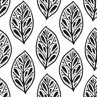 Naadloze patroon in scandinavische stijl met bloemen en bladeren