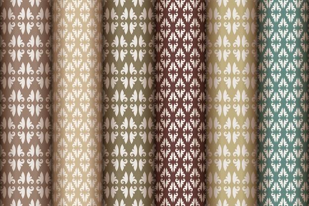 Naadloze patroon ingesteld in vintage stijl