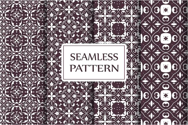 Naadloze patroon instellen vintage sieraad, barokke bloemen en zilveren venetiaanse sierlijke florale ornamenten