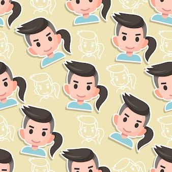 Naadloze patroon jonge man karakter platte cartoon