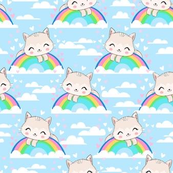 Naadloze patroon kat en regenboog cartoon karakter illustratie kinderachtig ontwerp print