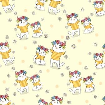 Naadloze patroon katten met bloemen cartoon
