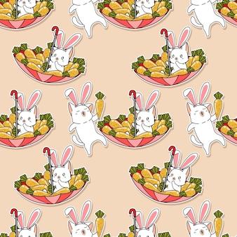 Naadloze patroon katten met wortelen cartoon