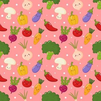 Naadloze patroon kawaii groente op roze