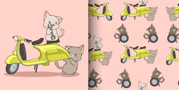 Naadloze patroon kawaii ingenieur katten en motorfiets
