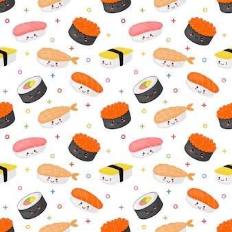 Naadloze patroon kawaii sushi en sashimi