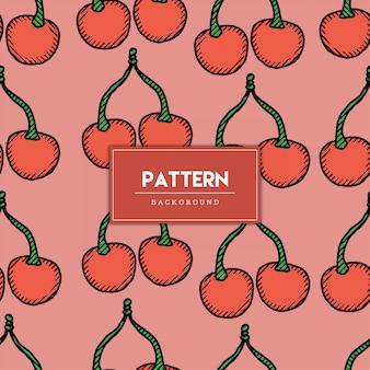 Naadloze patroon kersen fruit hand getrokken illustratie