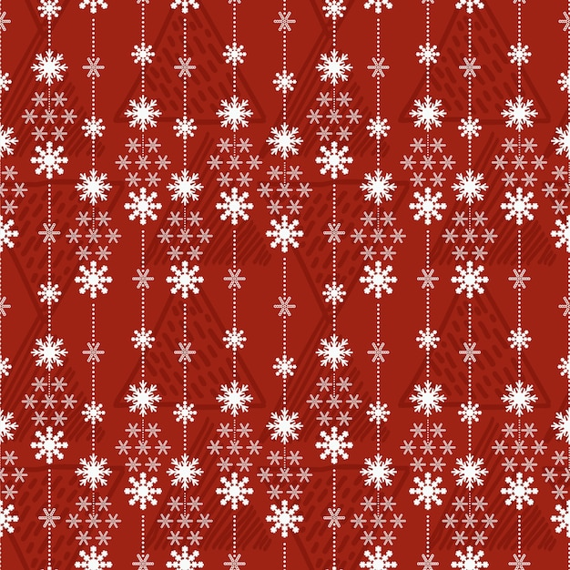 Naadloze patroon kerst achtergrond met sneeuwkristallen