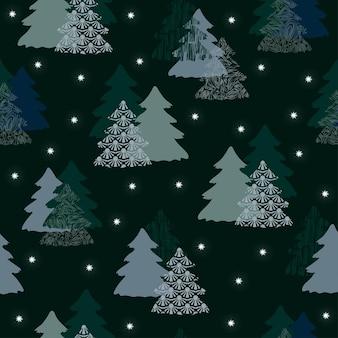 Naadloze patroon kerst bos donker blauwe achtergrond boom haas herten sneeuwvlokken nieuwjaar