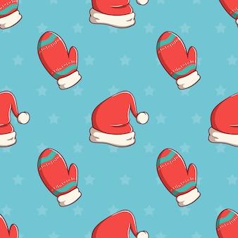 Naadloze patroon kerst handschoenen en hoed