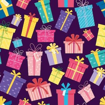 Naadloze patroon kerst verrassing dozen op donkere achtergrond set van geschenkdozen voor vakantie sale