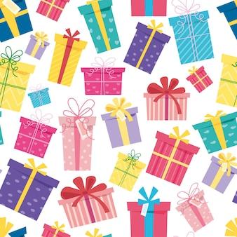 Naadloze patroon kerst verrassing dozen op witte achtergrond set van geschenkdozen voor vakantie sale