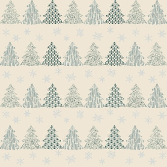 Naadloze patroon kerstboom decoratie witte achtergrond sneeuwvlokken feestelijk decor nieuwjaar