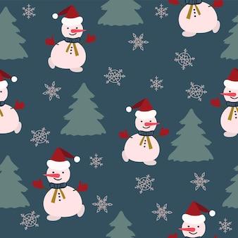 Naadloze patroon kerstdecoratie blauwe achtergrond sneeuwpop sneeuwvlokken feestelijk decor nieuwjaar