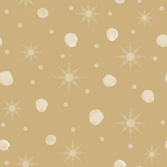 Naadloze patroon kerstdecoratie gele achtergrond sneeuwvlokken sterren feestelijk decor nieuwjaar