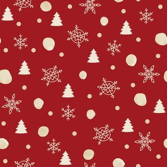 Naadloze patroon kerstdecoratie rode achtergrond sneeuwvlokken boom feestelijk decor nieuwjaar
