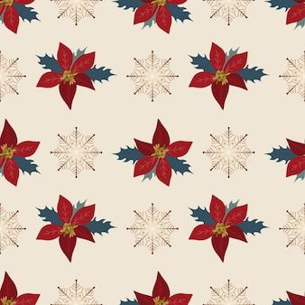 Naadloze patroon kerstdecoratie witte achtergrond poinsettia sneeuwvlokken nieuwjaar