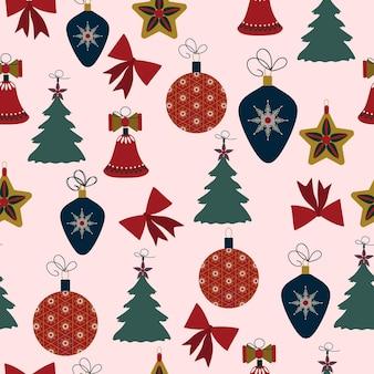 Naadloze patroon kerstdecoratie witte achtergrond sneeuwvlokken ballen feestelijk decor nieuwjaar