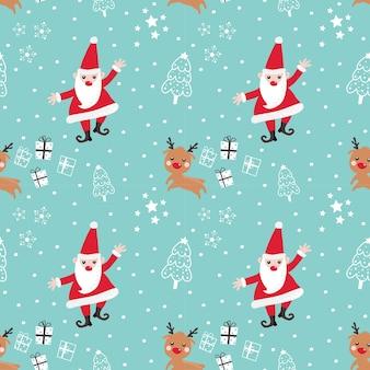 Naadloze patroon kerstman en rendieren
