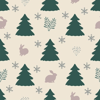 Naadloze patroon kerstmis bos witte achtergrond boom haas sneeuwvlokken nieuwjaar