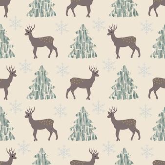 Naadloze patroon kerstmis bos witte achtergrond boom herten sneeuwvlokken nieuwjaar
