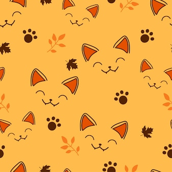 Naadloze patroon kleine kat in halloween