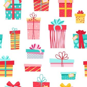 Naadloze patroon. kleurrijke cadeaus, veel verschillende leuke doosjes met strikjes.