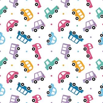 Naadloze patroon kleurrijke vervoer schattige auto cartoon stijl Premium Vector