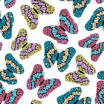 Naadloze patroon. kleurrijke vlinders in platte moderne stijl. hand getekend
