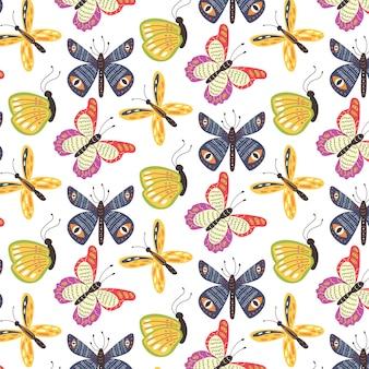 Naadloze patroon kleurrijke vlinders