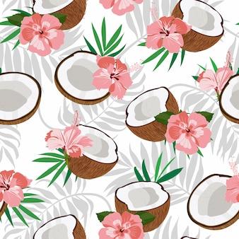 Naadloze patroon kokosnoot stuk en palmbladeren met roze hibiscus