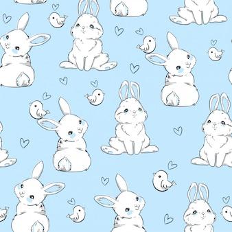 Naadloze patroon konijn. hand getrokken bunny en vogels, print ontwerp konijn achtergrond. naadloos. print design textiel voor kindermode.