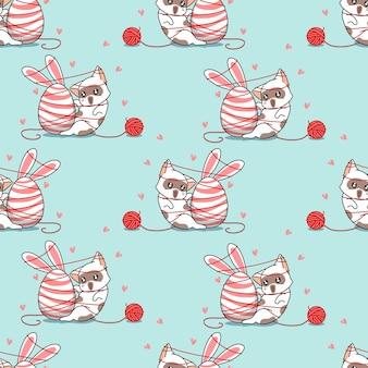 Naadloze patroon konijn kat met paasdag cartoon