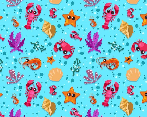 Naadloze patroon, krab kreeft zeesterren garnalen zee strand