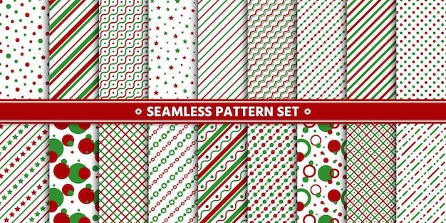 Naadloze patroon lijn cirkel ster set, papier wrap, wit rood groen.