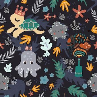 Naadloze patroon lijn pop-art collectie boheemse stijl met elementen onder de zee