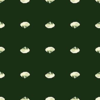 Naadloze patroon lola rosa salade op donkergroene achtergrond. minimalisme sieraad met sla. geometrische plant sjabloon voor stof. ontwerp vectorillustratie.