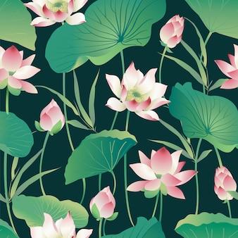 Naadloze patroon lotusbloemen en bladeren. waterverf.