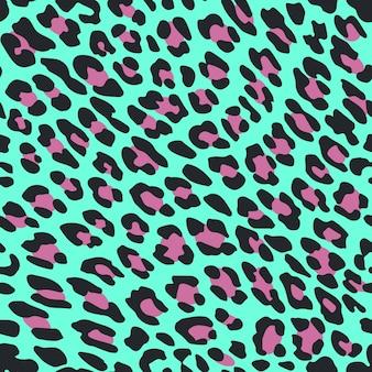Naadloze patroon luipaardvel op blauwe achtergrond