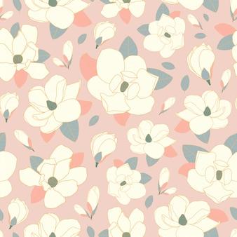 Naadloze patroon magnolia bloem