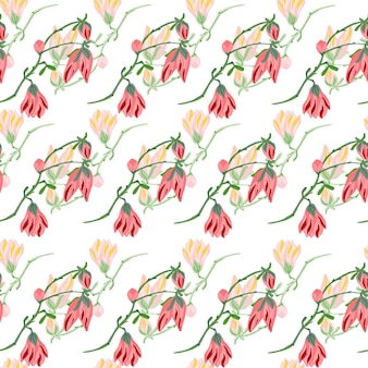 Naadloze patroon magnolia's op witte achtergrond. mooi ornament met roze lentebloemen. geometrische bloemensjabloon voor stof. ontwerp vectorillustratie.