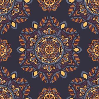 Naadloze patroon mandala vector ontwerp voor afdrukken.