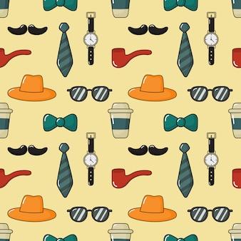 Naadloze patroon mannen items. gelukkige vaderdag