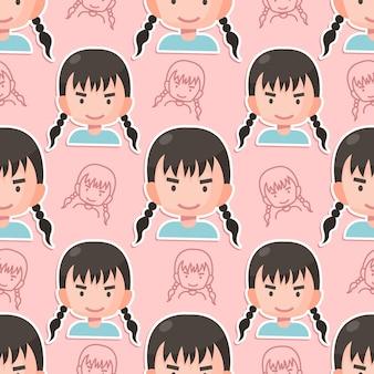 Naadloze patroon meisje platte cartoon