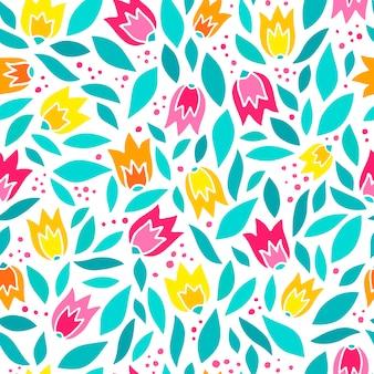 Naadloze patroon met abstracte tulpen en bladeren