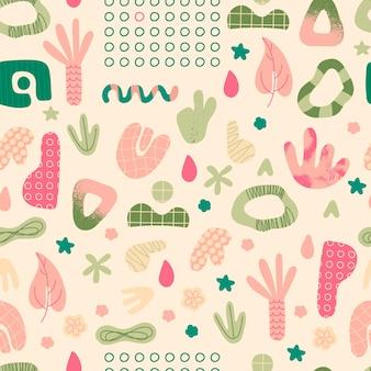 Naadloze patroon met abstracte vormen hand getrokken trendy doodles herhalende elementen voor ontwerp