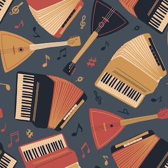 Naadloze patroon met accordeon gitaar balalaika en bladmuziek international music day