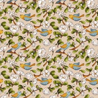Naadloze patroon met appelbloesem en vogels. hand getrokken behang.
