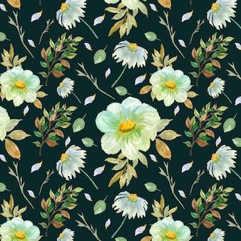 Naadloze patroon met aquarel madeliefjebloemen